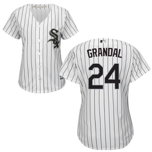 White Sox #24 Yasmani Grandal White(Black Strip) Home Women's Stitched MLB Jersey