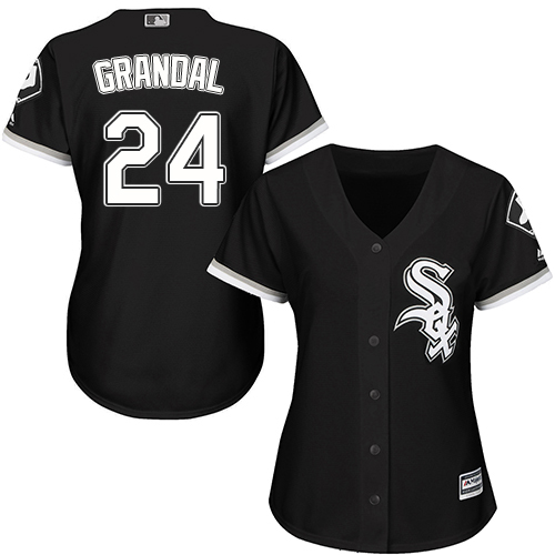 White Sox #24 Yasmani Grandal Black Alternate Women's Stitched MLB Jersey