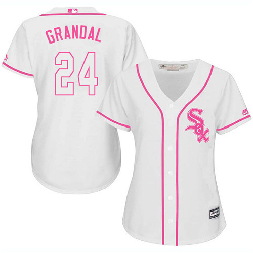 White Sox #24 Yasmani Grandal White/Pink Fashion Women's Stitched MLB Jersey