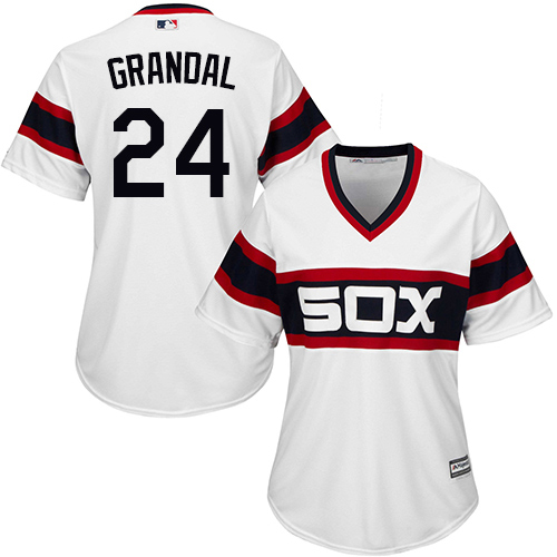 White Sox #24 Yasmani Grandal White Alternate Home Women's Stitched MLB Jersey