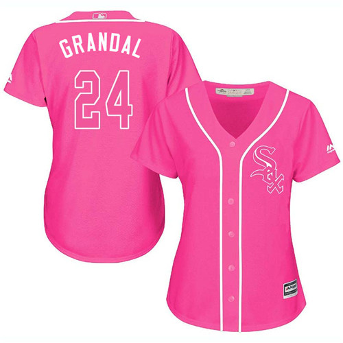 White Sox #24 Yasmani Grandal Pink Fashion Women's Stitched MLB Jersey