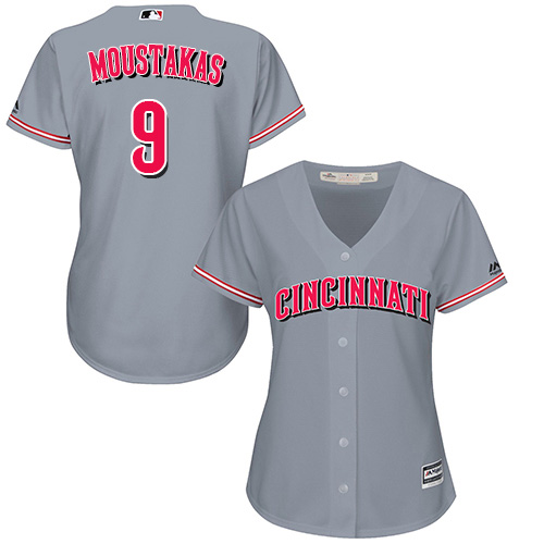 Reds #9 Mike Moustakas Grey Road Women's Stitched MLB Jersey