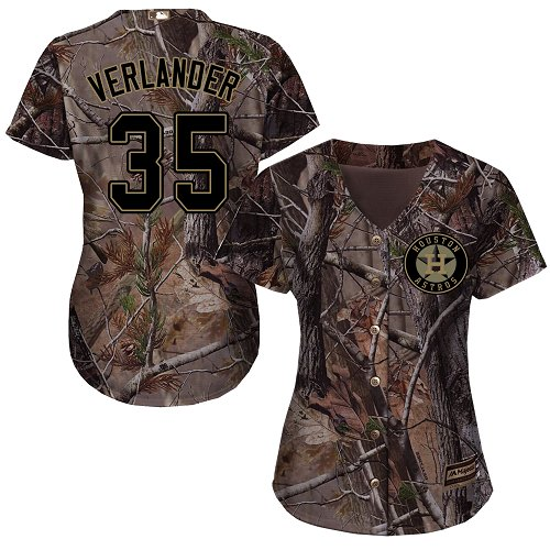 Astros #35 Justin Verlander Camo Realtree Collection Cool Base Women's Stitched MLB Jersey