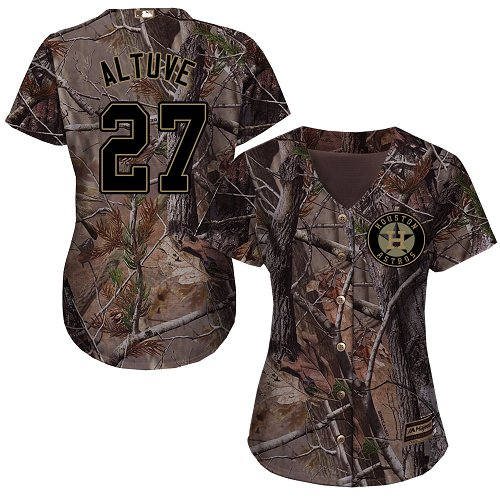 Astros #27 Jose Altuve Camo Realtree Collection Cool Base Women's Stitched MLB Jersey