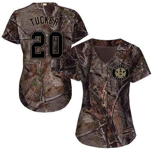Astros #20 Preston Tucker Camo Realtree Collection Cool Base Women's Stitched MLB Jersey