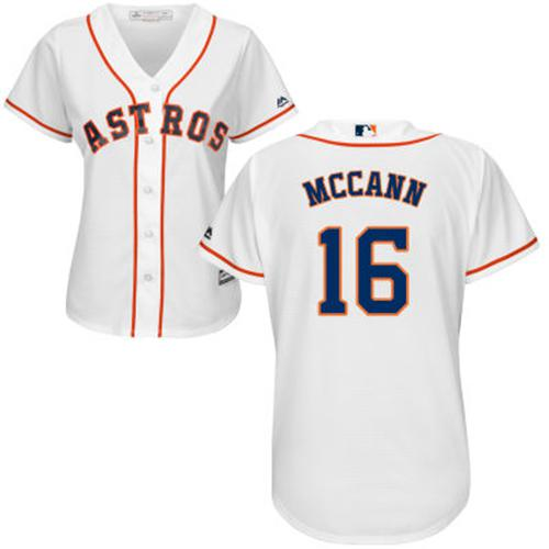 Astros #16 Brian McCann White Home Women's Stitched MLB Jersey
