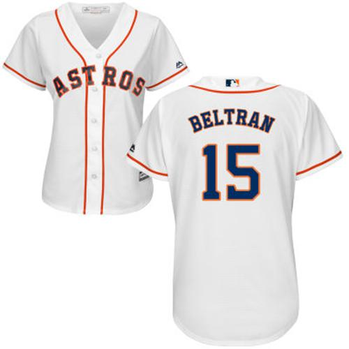 Astros #15 Carlos Beltran White Home Women's Stitched MLB Jersey