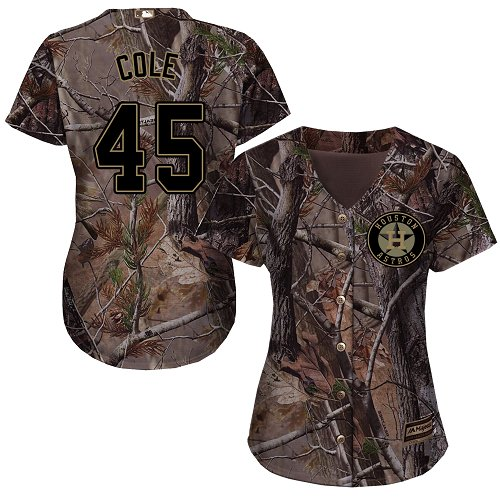 Astros #45 Gerrit Cole Camo Realtree Collection Cool Base Women's Stitched MLB Jersey