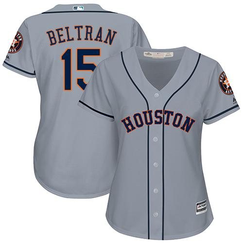 Astros #15 Carlos Beltran Grey Road Women's Stitched MLB Jersey