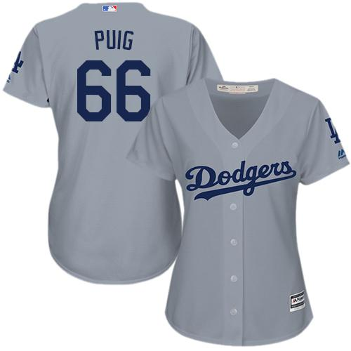 Dodgers #66 Yasiel Puig Grey Alternate Road Women's Stitched MLB Jersey