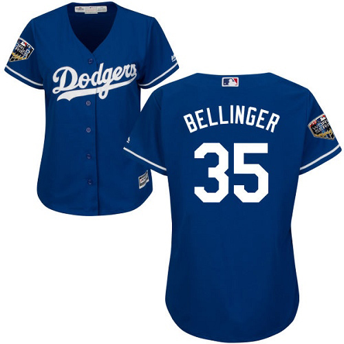 Dodgers #35 Cody Bellinger Blue Alternate 2018 World Series Women's Stitched MLB Jersey