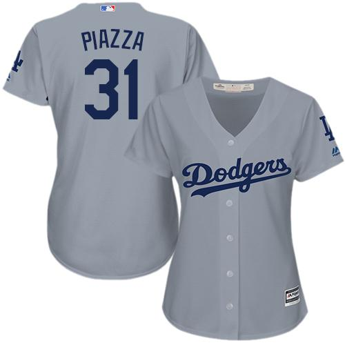 Dodgers #31 Mike Piazza Grey Alternate Road Women's Stitched MLB Jersey