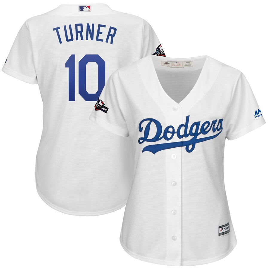 Los Angeles Dodgers #10 Justin Turner Majestic Women's 2019 Postseason Home Official Cool Base Player Jersey White