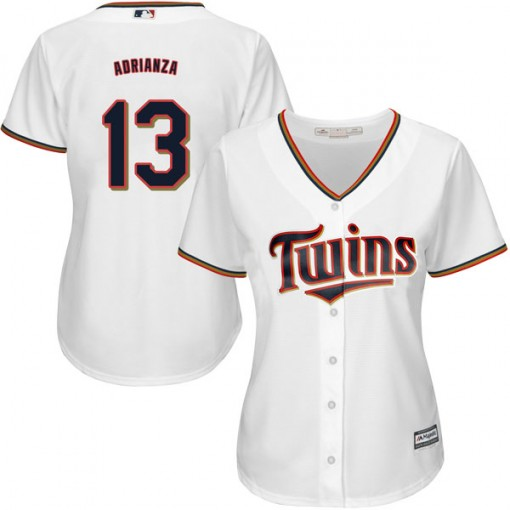 Twins #13 Ehire Adrianza White Home Women's Stitched MLB Jersey
