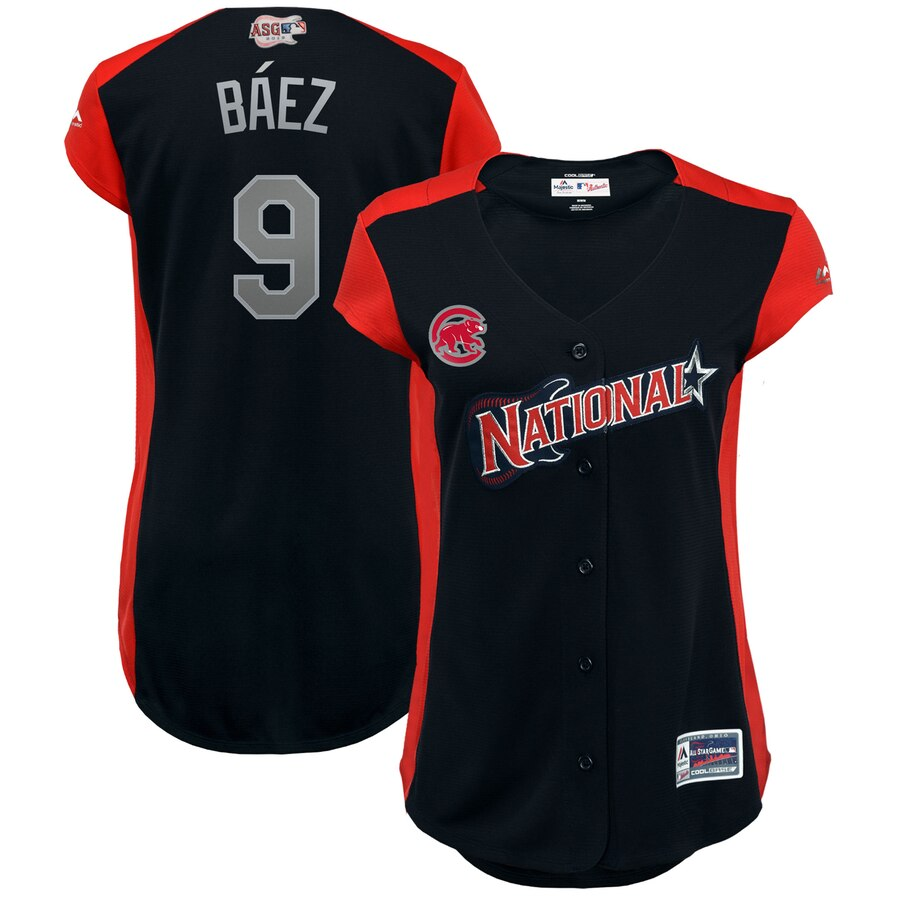National League #9 Javier Baez Majestic Women's 2019 MLB All-Star Game Workout Player Jersey Navy