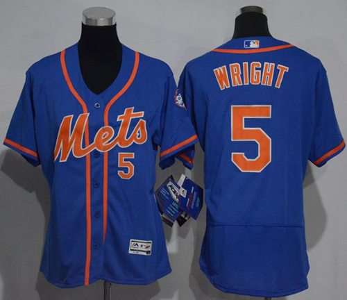 Mets #5 David Wright Blue Flexbase Authentic Women's Stitched MLB Jersey