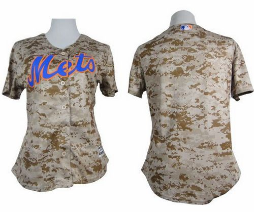 Mets Blank Camo Women's Fashion Stitched MLB Jersey