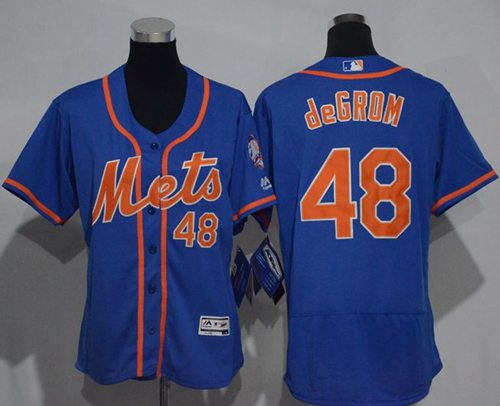 Mets #48 Jacob deGrom Blue Flexbase Authentic Women's Stitched MLB Jersey