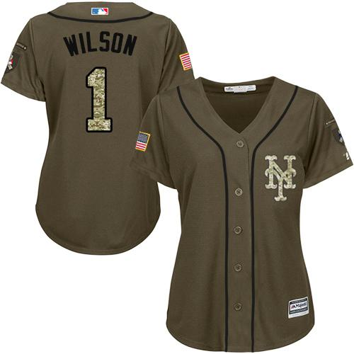Mets #1 Mookie Wilson Green Salute to Service Women's Stitched MLB Jersey