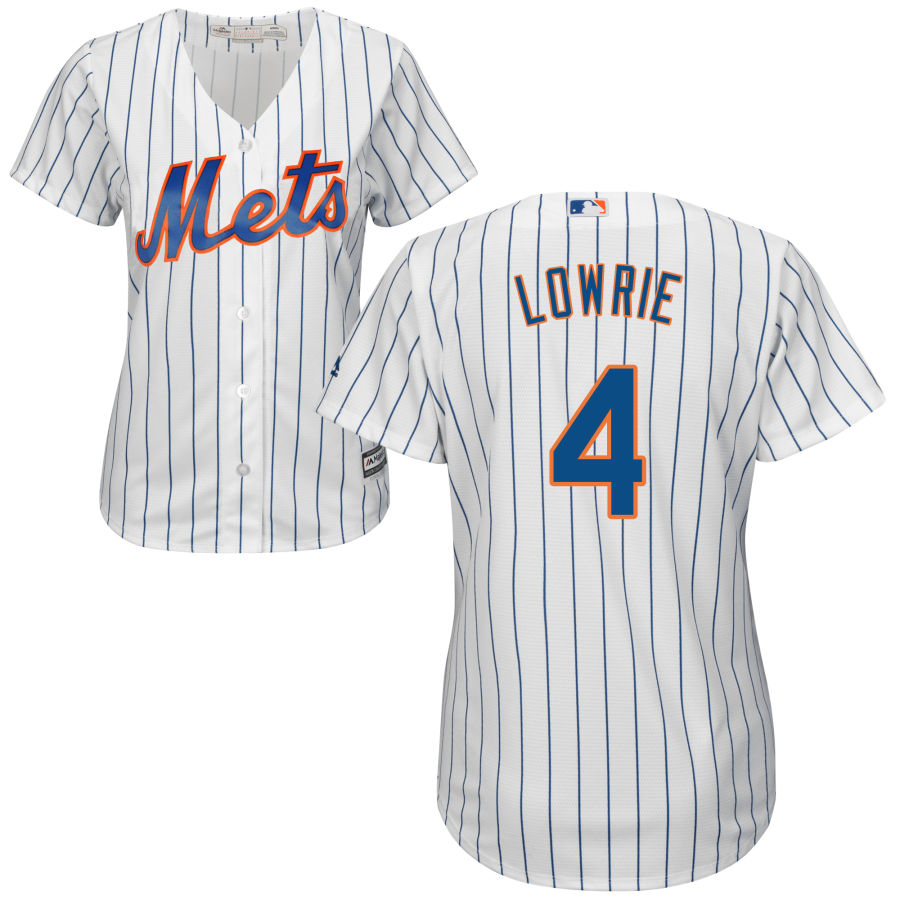 Mets #4 Jed Lowrie White Women's Cool Base Stitched MLB Jersey