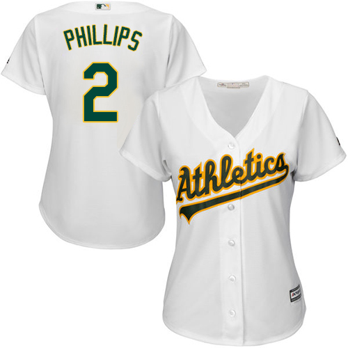 Athletics #2 Tony Phillips White Home Women's Stitched MLB Jersey