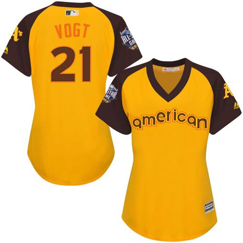 Athletics #21 Stephen Vogt Gold 2016 All-Star American League Women's Stitched MLB Jersey