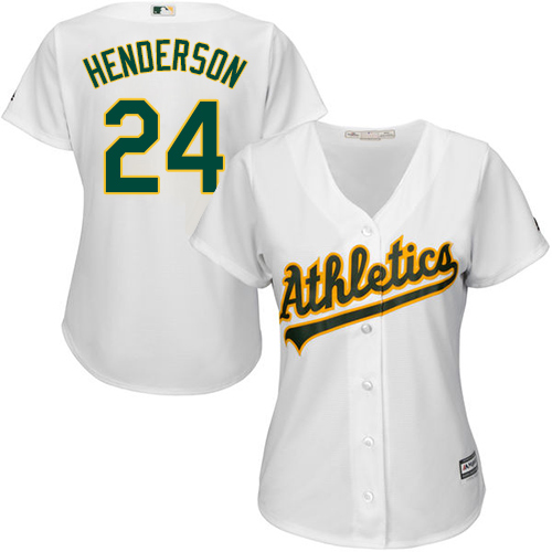 Athletics #24 Rickey Henderson White Home Women's Stitched MLB Jersey