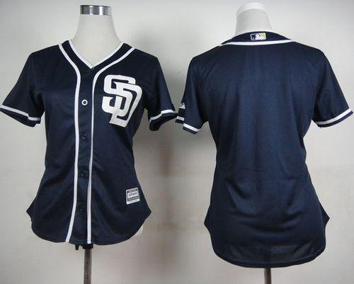 Padres Blank Navy Blue Alternate 1 Women's Stitched MLB Jersey