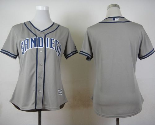 Padres Blank Grey Road Women's Stitched MLB Jersey