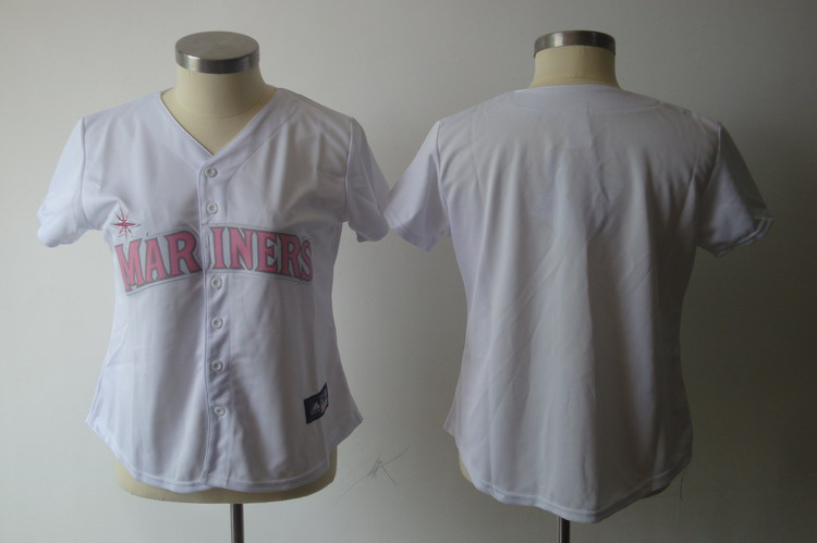 Mariners Blank White With Pink No. Women's Fashion Stitched MLB Jersey