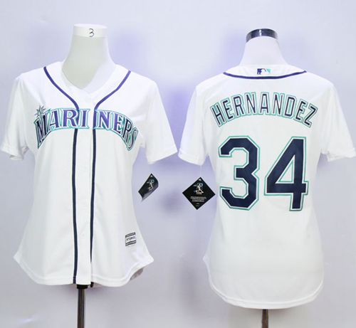 Mariners #34 Felix Hernandez White Home Women's Stitched MLB Jersey