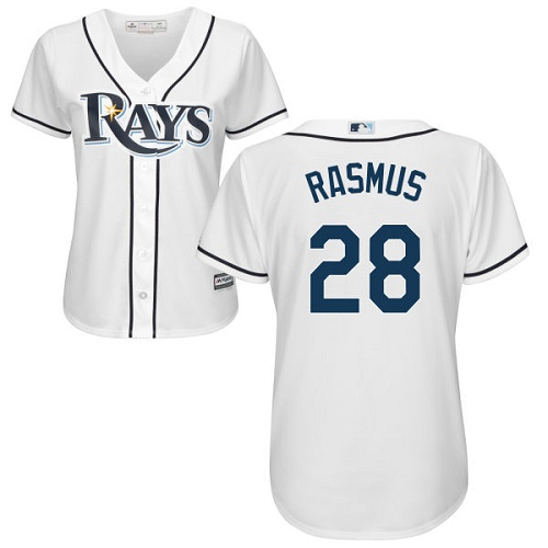 Rays #28 Colby Rasmus White Home Women's Stitched MLB Jersey