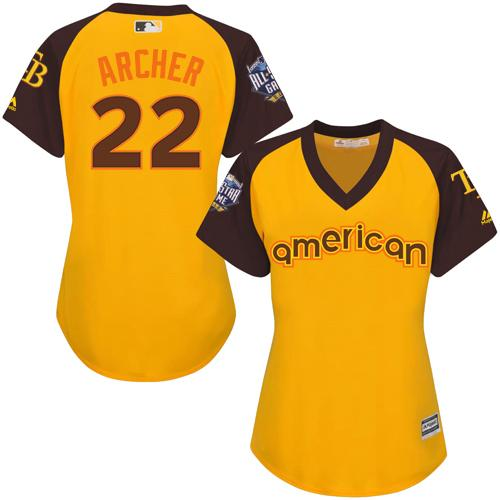 Rays #22 Chris Archer Gold 2016 All-Star American League Women's Stitched MLB Jersey