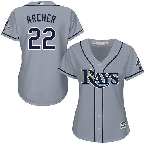 Rays #22 Chris Archer Grey Road Women's Stitched MLB Jersey