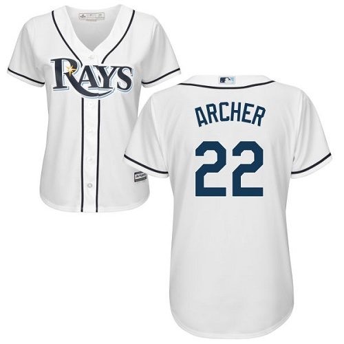 Rays #22 Chris Archer White Home Women's Stitched MLB Jersey