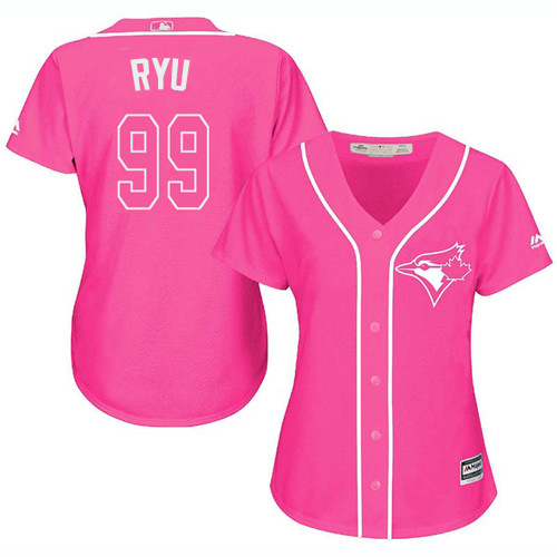 Blue Jays #99 Hyun-Jin Ryu Pink Fashion Women's Stitched MLB Jersey
