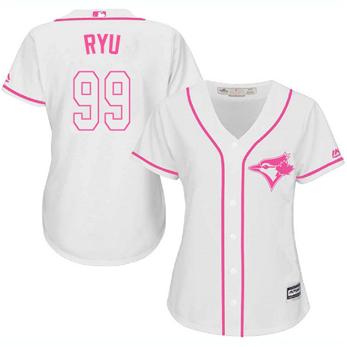 Blue Jays #99 Hyun-Jin Ryu White/Pink Fashion Women's Stitched MLB Jersey