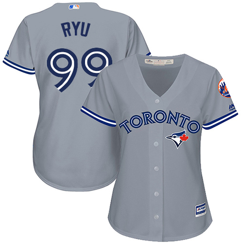 Blue Jays #99 Hyun-Jin Ryu Grey Road Women's Stitched MLB Jersey