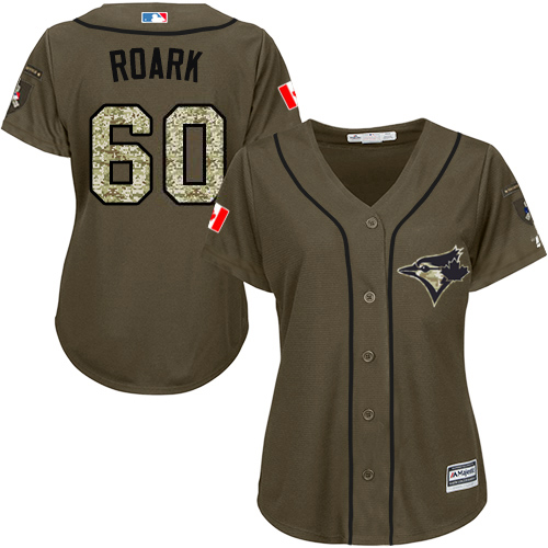 Blue Jays #60 Tanner Roark Green Salute to Service Women's Stitched MLB Jersey