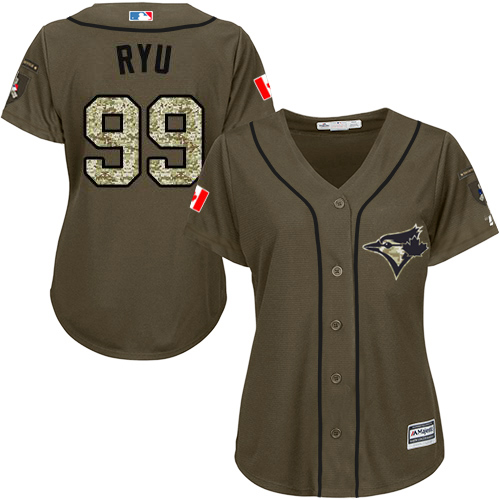 Blue Jays #99 Hyun-Jin Ryu Green Salute to Service Women's Stitched MLB Jersey