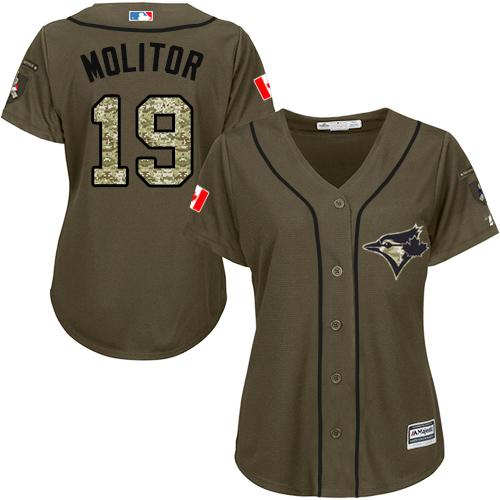 Blue Jays #19 Paul Molitor Green Salute to Service Women's Stitched MLB Jersey