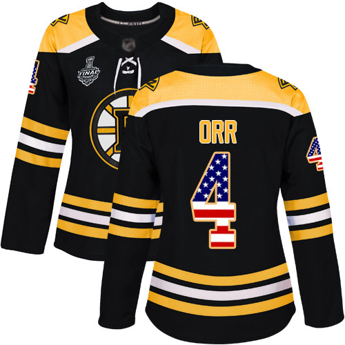 Adidas Bruins #4 Bobby Orr Black Home Authentic USA Flag Stanley Cup Final Bound Women's Stitched NHL Jersey