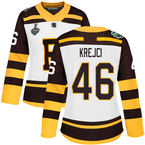 Adidas Bruins #46 David Krejci White Authentic 2019 Winter Classic Stanley Cup Final Bound Women's Stitched NHL Jersey