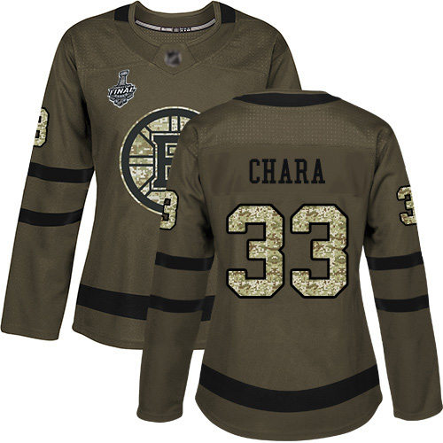Adidas Bruins #33 Zdeno Chara Green Salute to Service Stanley Cup Final Bound Women's Stitched NHL Jersey
