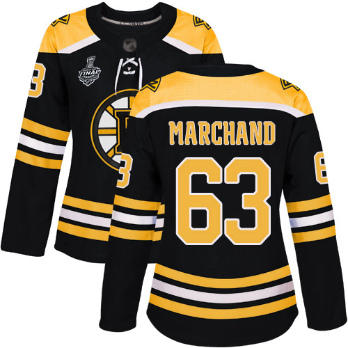 Adidas Bruins #63 Brad Marchand Black Home Authentic Stanley Cup Final Bound Women's Stitched NHL Jersey