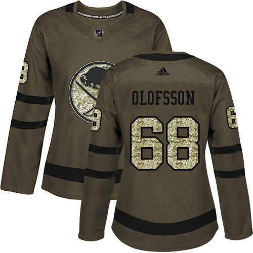 Adidas Sabres #68 Victor Olofsson Green Salute to Service Women's Stitched NHL Jersey
