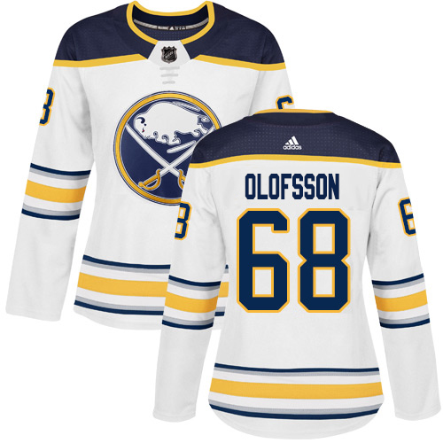 Adidas Sabres #68 Victor Olofsson White Road Authentic Women's Stitched NHL Jersey