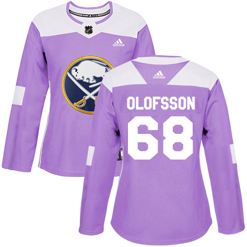 Adidas Sabres #68 Victor Olofsson Purple Authentic Fights Cancer Women's Stitched NHL Jersey