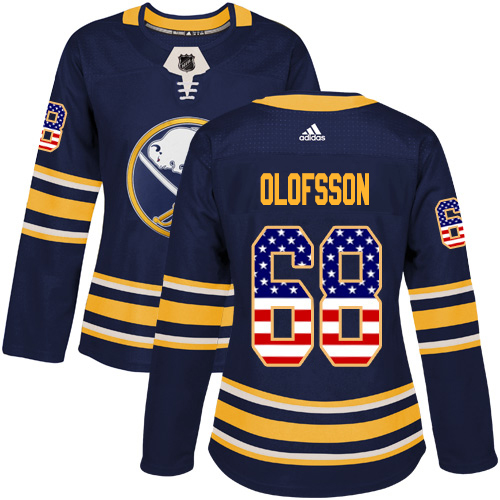 Adidas Sabres #68 Victor Olofsson Navy Blue Home Authentic USA Flag Women's Stitched NHL Jersey