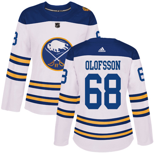 Adidas Sabres #68 Victor Olofsson White Authentic 2018 Winter Classic Women's Stitched NHL Jersey